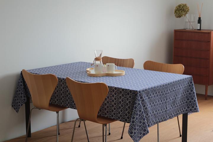 テーブルクロス 撥水加工 ブルー