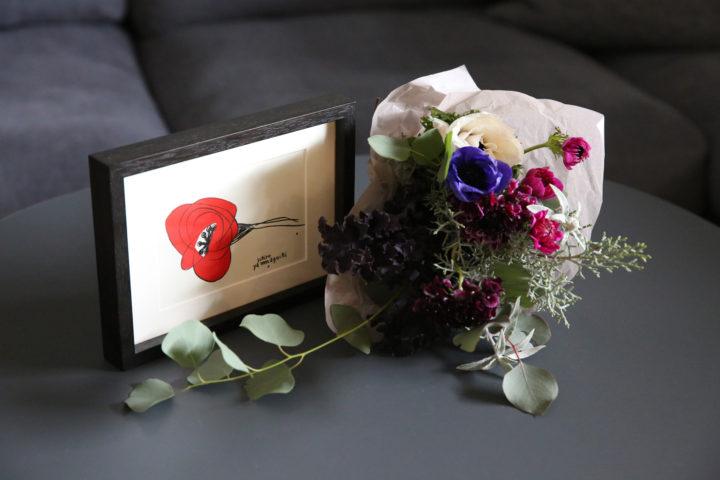山口一郎,シルクスクリーン,赤い花,赤いHANA